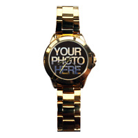Men's Personalised Gold Steel Photo Watch Picture Customised Image Design Logo