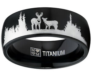 Men Black Outdoor Hunting Titanium Ring Wedding Band Laser Etched Deer