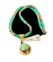 Mens Navajo Pearls Sterling Silver Green Royston Turquoise Necklace Pendant 4017