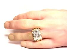 10k yellow gold mens diamond cluster  .82ct ring 9.9g vintage gents estate