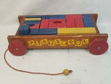 VINTAGE PLAYSKOOL WAGON PULL STRING BLOCKS TOY COLLECTIBLE