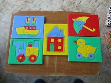 NO BOX Five Child's 3-4 piece Wooden Jigsaw Puzzles