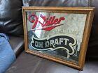 VINTAGE Miller High Life On Draft Beer 1983 Wall Mirror Sign Oak Frame! 17x22!