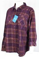 Columbia Women's Times Two Corduroy Long Sleeve Shirt Plus Size 1X Black Cherry