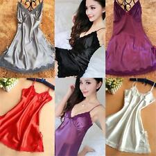 Pajamas Satin Silk Dress Nightgown Lace Robe Women Sleepwear Sexy Lingerie