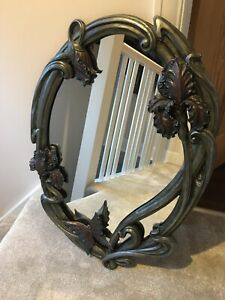 Art Nouveau Wall Mirror Iris And Butterfly