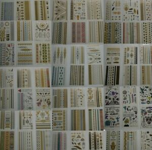 1000+ Super Metallic Gold Silver Black Jewelry Temporary Bling Tattoos 63 Sheets