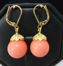 Charm Pink Coral Color Shell Pearl 18KGP Leverback Hook Women Lady Girl Earrings