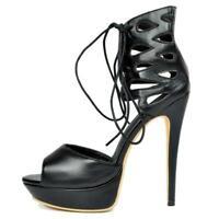 NICE Women Sandals Open Toe High Heels Sandals Black Shoes Woman Big Size 4-20