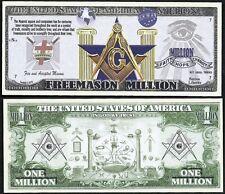Free Mason Symbols Million Dollar Masonic Square & Compass - Lot of 2 BILLS