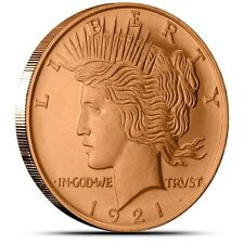 1 OZ .999 Fine Copper Peace Dollar Round Bullion - AVDP  - Coin