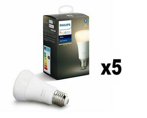 5 Philips Lighting Hue White, Lampadine LED Connesse, Attacco E27, 5pezzi oWIFI