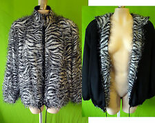 Zebra fur reversible black faux white tiger snow leopard medium club unisex punk