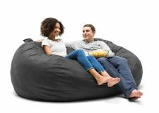 Bean Bag Chair 7 Feet Xxl Lenox Black Fuf Foam Suede Game Room Black Brand New