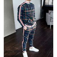 Mens Tracksuit 2 Piece Casual Trousers Jacket Sweatsuit Hip Hop Sweatshirt Set