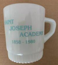 1980 MOUNT SAINT JOSEPH ACADEMY COFFEE MUG, FLOURTOWN, PA, FIRE KING MILK GLASS