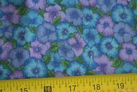 By 1/2 Yd, Green Blue & Lavender Quilting Cotton, Hoffman/Les Jardins, N1077