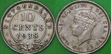 1938 Canada Silver Newfoundland Dime Graded as Very Fine