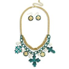 NEW Big & Bold Patina Tribal Cross Charm Link Statement Necklace in Goldtone