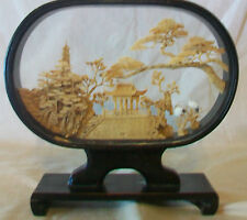 VINTAGE CHINESE HAND CARVED CORK ORIGAMI DIORAMA by SAN YOU IN CASE