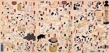 3 x Gatos & Gatitos Antigua xilografía japonesa imprime por Kuniyoshi Imagen Cartel Nuevo