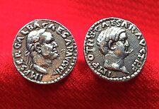 Ancient Roman Emperors Galba & Otho Silver Tone Unique Coin Cufflinks + Gift Box