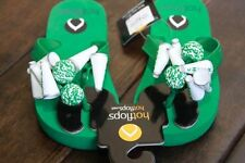 NEW HoTFLoPs Green Cheerleading Cheer Flip Flops Sandals Child Size 10 11 12 NWT