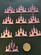 Disney Castle Die Cut Card Topper Scrapbook metallic pink.
