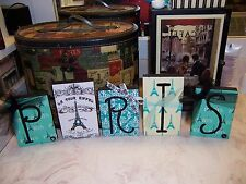 Teal blue Paris wall decor letter blocks sign Shabby French chic Eiffel Tower