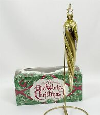 "Old World Christmas Ornament Blown Glass Glimmering Gold Glitter Icicle 6"" w/Box"