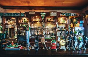 VLIES Fototapete-BAR-(4874V)-Vintage Retro Bistro Pub Alkohol Flaschen Design