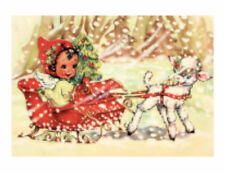 Vintage Image Christmas Little Boy Sleigh Lamb Transfers Decoupage Decals Chr282