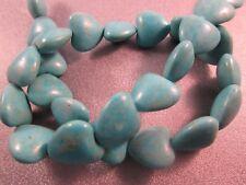 Magnesite Turquoise Heart Beads 28pcs