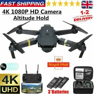 Drone X Pro WIFI FPV 4K HD Camera 3 Batteries Foldable Selfie RC Quadcopter