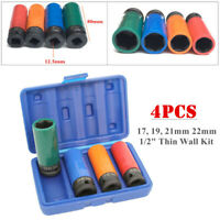 "4PCS Alloy Wheel Nut Thin Wall Deep Impact Socket Set 1/2"" Drive 17/19/21/22mm"