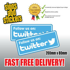 2x Follow us on Twitter Social Network Stickers Business shop media advertising.