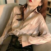 Lady Shiny Shirts Blouse Solid Top Long Sleeve V-neck Loose Pocket Autumn Casual