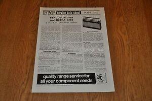 Ferguson 3169 Ultra 6169 Radio RCR Service Data Sheet R336 Vintage Manual