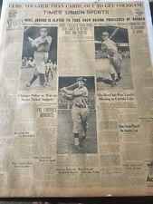 1935 World Series Vintage baseball newspaper Chicago cubs Detroit Tigers