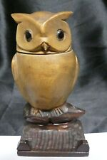Vintage Black Forest Carved Wood Owl Glass Eyes Inkwell
