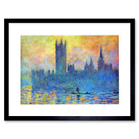 Monet London Parliament In Winter Framed Art Print Picture Mount 12x16 Inch