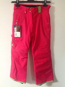 SALOMON GIRLS INSULATED WATERPROOF HOT PINK SKI TROUSERS PANTS   8YR   £80  BNWT