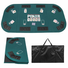 Foldable Poker Game Table Top w/ Cup &Chip Holders Blackjack Up To 8 Players