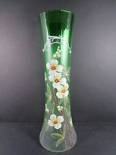 "Antique Bohemian Czech Satin Green 13"" Enameled Glass Floral Vase (#87-2)"