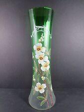"Antique Bohemian Czech Satin Green 13"" Enameled Glass Floral Vase (#87-2)"