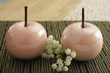 2 x Deko Apfel 10cm Keramik rosé glasiert glänzend Objekt Dekoapfel Figur Obst