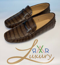 Tods Shoes Crocodile Look Loafers Size 8