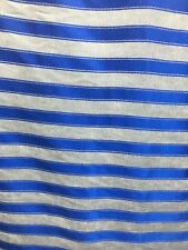 White Royal Blue Striped Chenille Upholstery Fabric (54 in.) Sold Bty