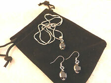 Austrian Crystals 18k White Gold Plated Black Onyx Oval Necklace & Earrings Set