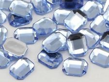 10X8mm Blue Sapphire Lite A32 Flat Back Octagon Acrylic Gemstones - 70 PCS